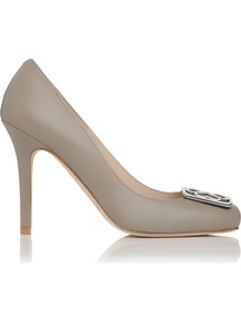 Lovells Closed Court, Clay - predominant colour: taupe; occasions: evening, work, occasion; material: leather; heel height: high; heel: stiletto; toe: round toe; style: courts; finish: plain; pattern: plain; embellishment: chain/metal