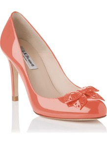 Shell Closed Court, Peach - predominant colour: coral; occasions: evening, work, occasion; material: leather; heel height: high; heel: stiletto; toe: round toe; style: courts; finish: patent; pattern: plain; embellishment: bow