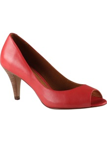 Karise Peep Toe Court Shoes, Red - predominant colour: true red; occasions: evening, work, occasion; material: leather; heel height: high; heel: stiletto; toe: open toe/peeptoe; style: courts; finish: plain; pattern: plain