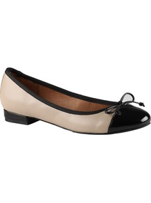 Wickwire Pump Shoes, Bone - predominant colour: ivory; occasions: casual, work; material: leather; heel height: flat; toe: round toe; style: ballerinas / pumps; finish: plain; pattern: two-tone; embellishment: bow