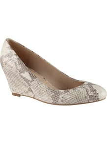 Mireldee Wedge Court Shoes, Natural - predominant colour: mid grey; occasions: casual, evening; material: faux leather; heel height: mid; heel: wedge; toe: round toe; style: courts; finish: plain; pattern: animal print