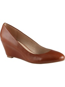 Mireldee Wedge Court Shoes, Cognac - predominant colour: tan; occasions: casual, evening, work; material: faux leather; heel height: mid; heel: wedge; toe: round toe; style: courts; finish: plain; pattern: plain