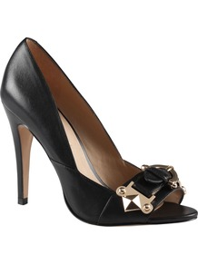 Langfeldt Peep Toe Court Shoes, Black - predominant colour: black; occasions: evening, work, occasion; material: leather; heel height: high; embellishment: buckles; heel: stiletto; toe: open toe/peeptoe; style: courts; finish: plain; pattern: plain