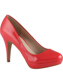 Kenzie Court Shoes, Peach - predominant colour: coral; occasions: evening, occasion; material: leather; heel height: high; heel: platform; toe: round toe; style: courts; finish: plain; pattern: plain