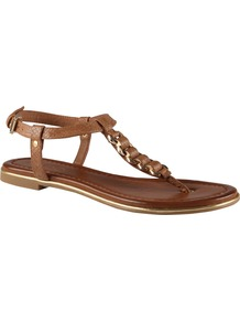 Miralles Flat Sandals, Cognac - predominant colour: tan; occasions: casual, holiday; material: faux leather; heel height: flat; ankle detail: ankle strap; heel: standard; toe: toe thongs; style: flip flops / toe post; finish: plain; pattern: plain; embellishment: chain/metal