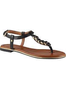 Miralles Flat Sandals, Black - predominant colour: black; occasions: casual, holiday; material: faux leather; heel height: flat; ankle detail: ankle strap; heel: standard; toe: toe thongs; style: flip flops / toe post; finish: plain; pattern: plain