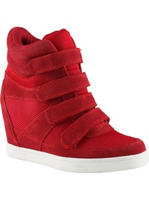 Chism Hi Top Wedge Trainer Shoes, Red - predominant colour: true red; occasions: casual; material: suede; heel height: high; heel: wedge; toe: round toe; boot length: ankle boot; style: high top; finish: plain; pattern: plain