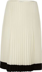 Women&#x27;s Mid Rise Pleated Skirt, Ivory - fit: tailored/fitted; style: pleated; waist: mid/regular rise; predominant colour: ivory; occasions: work; length: just above the knee; fibres: polyester/polyamide - 100%; texture group: crepes; pattern type: fabric; pattern size: standard; pattern: colourblock