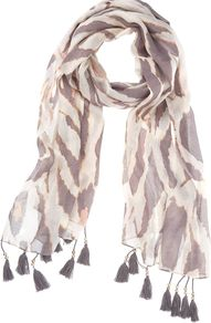 Ella Print Scarf, Multi Coloured - predominant colour: nude; occasions: casual, evening, work, holiday; type of pattern: standard; style: regular; size: standard; material: fabric; embellishment: tassels; pattern: animal print