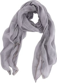 Washed Damson Gauzy Scarf, Brown - predominant colour: light grey; occasions: casual, evening, work, occasion, holiday; type of pattern: light; style: regular; size: standard; material: fabric; pattern: plain