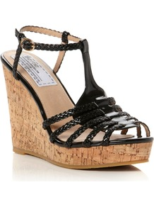 Gleen Plaited T Bar Sandals, Black - predominant colour: black; occasions: casual, holiday; material: faux leather; heel height: high; ankle detail: ankle strap; heel: wedge; toe: open toe/peeptoe; style: strappy; finish: patent; pattern: plain