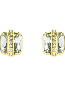 Square Jewel Stud Earrings, Crystal - predominant colour: gold; occasions: casual, evening, work, occasion; style: stud; length: short; size: small; material: chain/metal; fastening: pierced; finish: metallic; embellishment: crystals