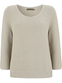Women's Lurex Knit, Stone - neckline: round neck; style: standard; predominant colour: stone; occasions: casual, work; length: standard; fibres: cotton - mix; fit: standard fit; sleeve length: 3/4 length; sleeve style: standard; texture group: knits/crochet; pattern type: knitted - fine stitch; pattern size: standard