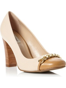 Agenda Square Toe Block Heel Court Shoes, Blonde - predominant colour: nude; occasions: work; material: leather; heel height: high; heel: block; toe: round toe; style: courts; finish: plain; pattern: plain; embellishment: chain/metal