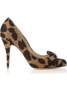 Adeline Court, Multi Coloured - predominant colour: black; occasions: evening, occasion; material: fabric; heel height: high; heel: stiletto; toe: pointed toe; style: courts; finish: plain; pattern: animal print; embellishment: bow