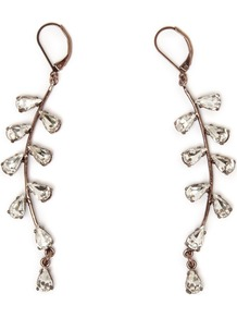 Astrid Earrings, Gold - predominant colour: gold; occasions: evening, work, occasion; style: drop; length: long; size: standard; material: chain/metal; fastening: pierced; finish: metallic; embellishment: crystals