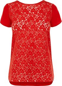 Women's Lace Front Viscose Tee, Red - neckline: round neck; sleeve style: capped; style: t-shirt; back detail: contrast pattern/fabric at back; predominant colour: true red; occasions: casual, evening, work; length: standard; fibres: polyester/polyamide - 100%; fit: straight cut; sleeve length: short sleeve; texture group: lace; pattern type: fabric; pattern size: small & busy; pattern: florals