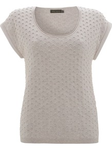 Women's Neutral Textured Knit, Neutral - neckline: round neck; sleeve style: capped; pattern: plain; style: standard; predominant colour: nude; occasions: casual, work; length: standard; fibres: cotton - 100%; fit: standard fit; sleeve length: sleeveless; pattern type: fabric; pattern size: standard; texture group: jersey - stretchy/drapey