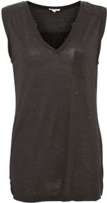 Black Notch Neck Tank Top - neckline: v-neck; pattern: plain; sleeve style: sleeveless; style: vest top; predominant colour: black; occasions: casual; length: standard; fibres: cotton - 100%; fit: body skimming; hip detail: slits at hip; sleeve length: sleeveless; pattern type: fabric; texture group: jersey - stretchy/drapey