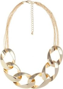 Gold Chunky Chain Collar Necklace - predominant colour: gold; occasions: evening, work, occasion, holiday; style: bib; length: short; size: large/oversized; material: chain/metal; trends: metallics; finish: metallic; embellishment: chain/metal