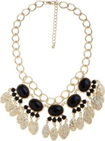 Black And Gold Gem Chain Necklace - secondary colour: gold; predominant colour: black; occasions: evening, occasion, holiday; style: bib; length: mid; size: large/oversized; material: chain/metal; trends: metallics; finish: metallic; embellishment: jewels
