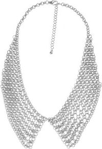 Silver Mesh Chain Collar Necklace - predominant colour: silver; occasions: casual, evening, occasion; style: choker/collar; length: short; size: large/oversized; material: chain/metal; finish: metallic; embellishment: chain/metal