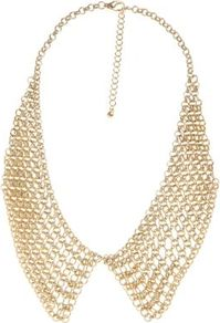 Gold Mesh Chain Collar Necklace - predominant colour: gold; occasions: evening, occasion, holiday; style: choker/collar; length: short; size: large/oversized; material: chain/metal; trends: metallics; finish: metallic; embellishment: chain/metal