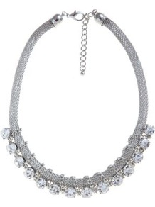 Silver Chain Stone Wrap Necklace - predominant colour: silver; occasions: casual, evening, occasion; style: choker/collar; length: short; size: standard; material: chain/metal; finish: metallic; embellishment: crystals