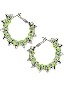 Spike Thread Wrap Earrings - predominant colour: lime; secondary colour: silver; occasions: casual, evening, occasion; style: hoop; length: mid; size: large/oversized; material: chain/metal; fastening: pierced; trends: fluorescent; finish: metallic; embellishment: studs