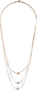 Pastel Ball Chain Necklace - predominant colour: gold; secondary colour: gold; occasions: evening, work, holiday; style: multistrand; length: long; size: small/fine; material: chain/metal; embellishment: beading
