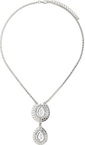 Tear Drop Box Chain Necklace - predominant colour: silver; occasions: evening, work, occasion; style: pendant; length: short; size: standard; material: chain/metal; finish: metallic; embellishment: crystals
