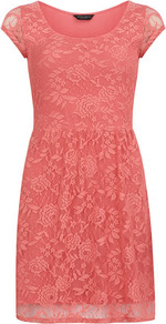 Coral Short Sleeve Lace Dress - sleeve style: capped; pattern: plain; waist detail: fitted waist; predominant colour: coral; occasions: evening, occasion; length: just above the knee; fit: fitted at waist &amp; bust; style: fit &amp; flare; fibres: cotton - 100%; neckline: crew; hip detail: soft pleats at hip/draping at hip/flared at hip; sleeve length: short sleeve; texture group: lace; pattern type: fabric
