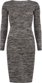 Grey Cross Back Bodycon Dress - fit: tight; pattern: plain; style: bodycon; back detail: low cut/open back; predominant colour: mid grey; occasions: casual, evening, work; length: just above the knee; fibres: cotton - stretch; neckline: crew; sleeve length: long sleeve; sleeve style: standard; pattern type: knitted - fine stitch; texture group: jersey - stretchy/drapey