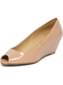 Timeless Nude Patent Low Wedges - predominant colour: nude; occasions: casual, work; material: faux leather; heel height: mid; heel: wedge; toe: open toe/peeptoe; style: courts; finish: patent; pattern: plain