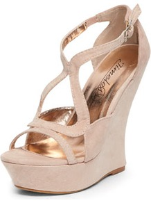 Timeless Nude Suedette Curved Wedges - predominant colour: nude; occasions: evening, occasion, holiday; material: faux leather; ankle detail: ankle strap; heel: wedge; toe: open toe/peeptoe; style: strappy; finish: plain; pattern: plain; heel height: very high