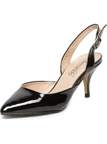 Timeless Black Pointed Mid Heel Courts - predominant colour: black; occasions: evening, work, occasion; material: faux leather; heel height: mid; heel: kitten; toe: pointed toe; style: slingbacks; finish: patent; pattern: plain