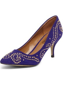 Timeless Violet Studded Pointed Courts - predominant colour: purple; secondary colour: gold; occasions: evening, work, occasion; material: suede; heel height: mid; embellishment: studs; heel: stiletto; toe: pointed toe; style: courts; trends: metallics; finish: plain; pattern: plain