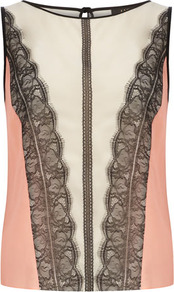 Luxe Neon And Lace Top - sleeve style: sleeveless; bust detail: added detail/embellishment at bust; predominant colour: pink; secondary colour: black; occasions: evening, occasion; length: standard; style: top; fibres: polyester/polyamide - 100%; fit: straight cut; neckline: crew; back detail: keyhole/peephole detail at back; sleeve length: sleeveless; texture group: crepes; pattern type: fabric; pattern size: standard; pattern: colourblock; embellishment: lace