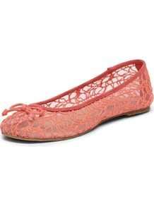 Coral Bow Textured Pumps - predominant colour: coral; occasions: casual; material: lace; heel height: flat; toe: round toe; style: ballerinas / pumps; finish: plain; pattern: plain