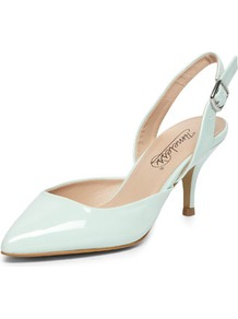 Mint Pointed Mid Heel Courts - predominant colour: pale blue; occasions: evening, work, occasion; material: faux leather; heel height: mid; heel: kitten; toe: pointed toe; style: slingbacks; finish: patent; pattern: plain