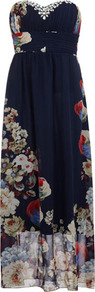 Navy/Multi Floral Print Maxi - neckline: strapless (straight/sweetheart); fit: empire; sleeve style: sleeveless; style: maxi dress; bust detail: added detail/embellishment at bust; waist detail: wide waistband/cummerbund; predominant colour: navy; occasions: evening, occasion; length: floor length; fibres: polyester/polyamide - 100%; sleeve length: sleeveless; texture group: sheer fabrics/chiffon/organza etc.; trends: high impact florals; pattern type: fabric; pattern size: big & light; pattern: florals
