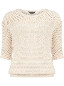Blush Pointelle Jumper - pattern: plain; style: standard; shoulder detail: contrast pattern/fabric at shoulder; predominant colour: blush; occasions: casual, evening, work, holiday; length: standard; fibres: cotton - 100%; fit: standard fit; neckline: crew; bust detail: contrast pattern/fabric/detail at bust; sleeve length: half sleeve; sleeve style: standard; texture group: knits/crochet; pattern type: knitted - big stitch; pattern size: small &amp; busy