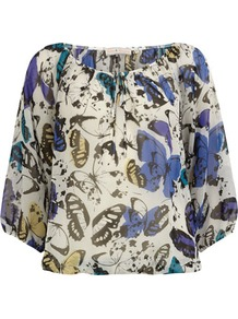 Billie & Blossom Butterfly Blouse - neckline: round neck; style: blouse; predominant colour: white; secondary colour: denim; occasions: casual, holiday; length: standard; fibres: polyester/polyamide - 100%; fit: straight cut; sleeve length: 3/4 length; sleeve style: standard; texture group: sheer fabrics/chiffon/organza etc.; pattern type: fabric; pattern size: standard; pattern: patterned/print