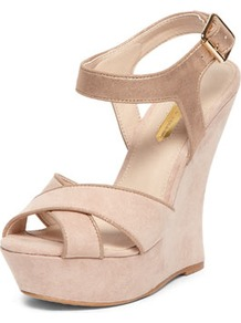 Nude Curved Back Wedges - predominant colour: nude; secondary colour: taupe; occasions: evening, occasion, holiday; material: faux leather; ankle detail: ankle strap; heel: wedge; toe: open toe/peeptoe; style: strappy; finish: plain; pattern: plain; heel height: very high