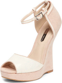 Nude Curve Back Wedges - secondary colour: ivory; predominant colour: nude; occasions: evening, work, occasion, holiday; material: suede; ankle detail: ankle strap; heel: wedge; toe: open toe/peeptoe; style: standard; finish: plain; pattern: colourblock; heel height: very high