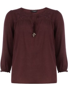 Burgundy Embroidered Smock Top - neckline: v-neck; pattern: plain; bust detail: added detail/embellishment at bust; style: blouse; shoulder detail: contrast pattern/fabric at shoulder; predominant colour: burgundy; occasions: casual, work; length: standard; fibres: cotton - 100%; fit: straight cut; sleeve length: 3/4 length; sleeve style: standard; texture group: cotton feel fabrics; pattern type: fabric; pattern size: standard