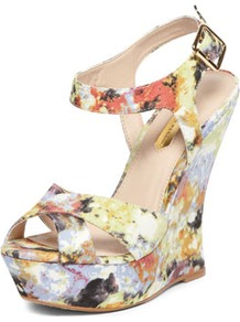 Floral Print Curved Wedges - occasions: evening, occasion, holiday; predominant colour: multicoloured; material: fabric; ankle detail: ankle strap; heel: wedge; toe: open toe/peeptoe; style: strappy; finish: plain; pattern: florals; heel height: very high
