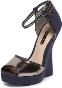 Navy Curve Back Wedges - predominant colour: navy; secondary colour: bronze; occasions: evening, occasion; material: suede; ankle detail: ankle strap; heel: wedge; toe: open toe/peeptoe; style: standard; trends: metallics; finish: metallic; pattern: plain; heel height: very high