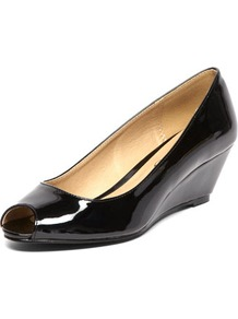 Black Patent Low Wedges - predominant colour: black; occasions: casual, evening, work; material: faux leather; heel height: mid; heel: wedge; toe: open toe/peeptoe; style: courts; finish: patent; pattern: plain