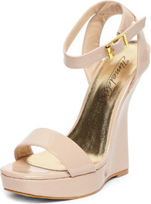 Nude Curved Wedge Sandals - predominant colour: nude; occasions: evening, occasion; material: faux leather; heel height: high; ankle detail: ankle strap; heel: wedge; toe: open toe/peeptoe; style: standard; finish: patent; pattern: plain